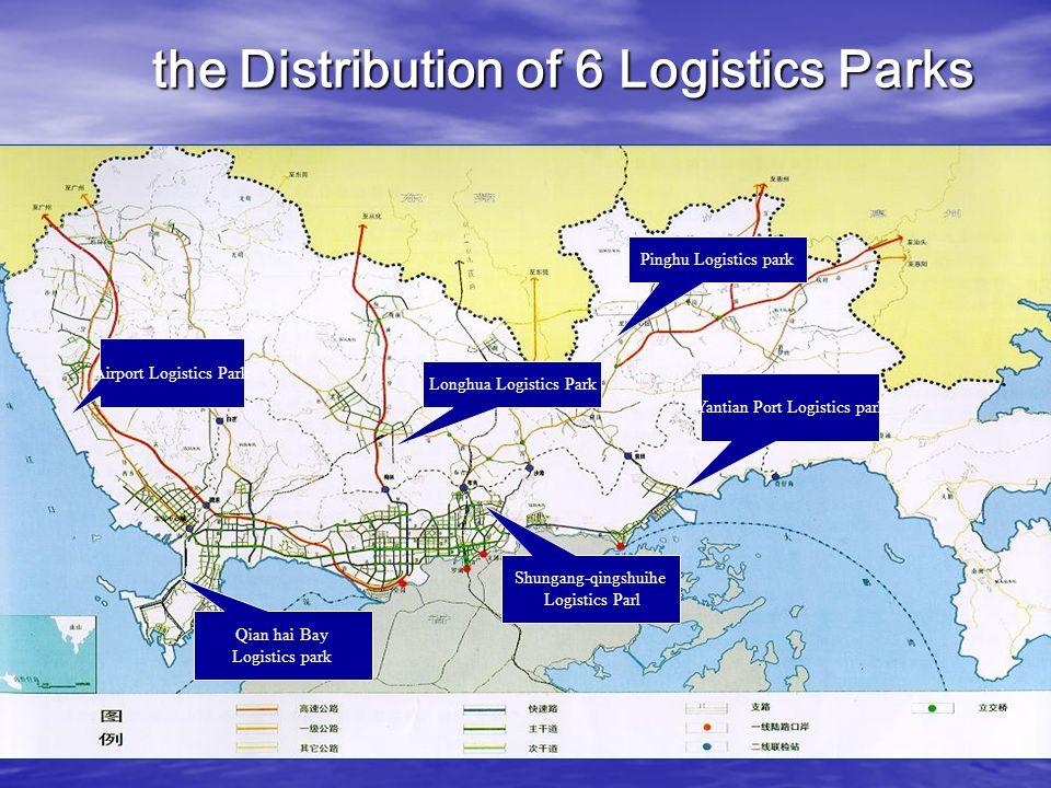 Airport Logistics Park Longhua Logistics Park Pinghu Logistics park Yantian Port Logistics park Qian hai Bay Logistics park Shungang-qingshuihe Logistics Parl the Distribution of 6 Logistics Parks the Distribution of 6 Logistics Parks