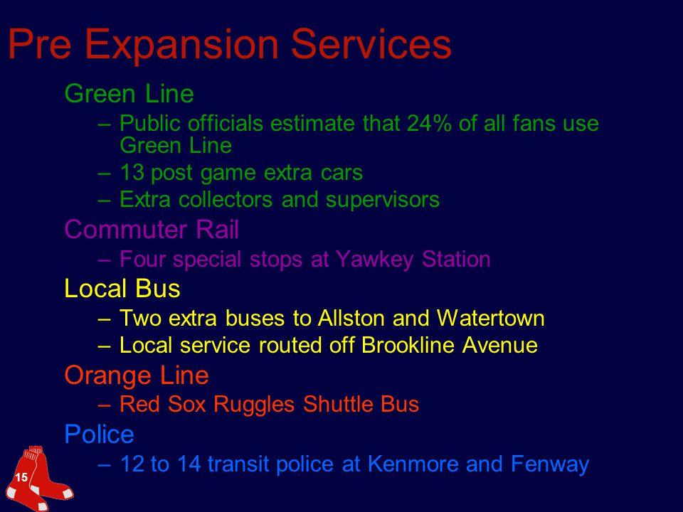 15 Pre Expansion Services Green Line –Public officials estimate that 24% of all fans use Green Line –13 post game extra cars –Extra collectors and supervisors Commuter Rail –Four special stops at Yawkey Station Local Bus –Two extra buses to Allston and Watertown –Local service routed off Brookline Avenue Orange Line –Red Sox Ruggles Shuttle Bus Police –12 to 14 transit police at Kenmore and Fenway