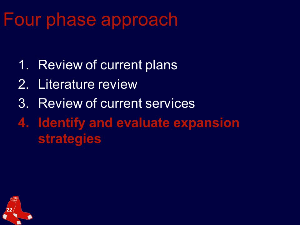 22 Four phase approach 1.Review of current plans 2.Literature review 3.Review of current services 4.Identify and evaluate expansion strategies