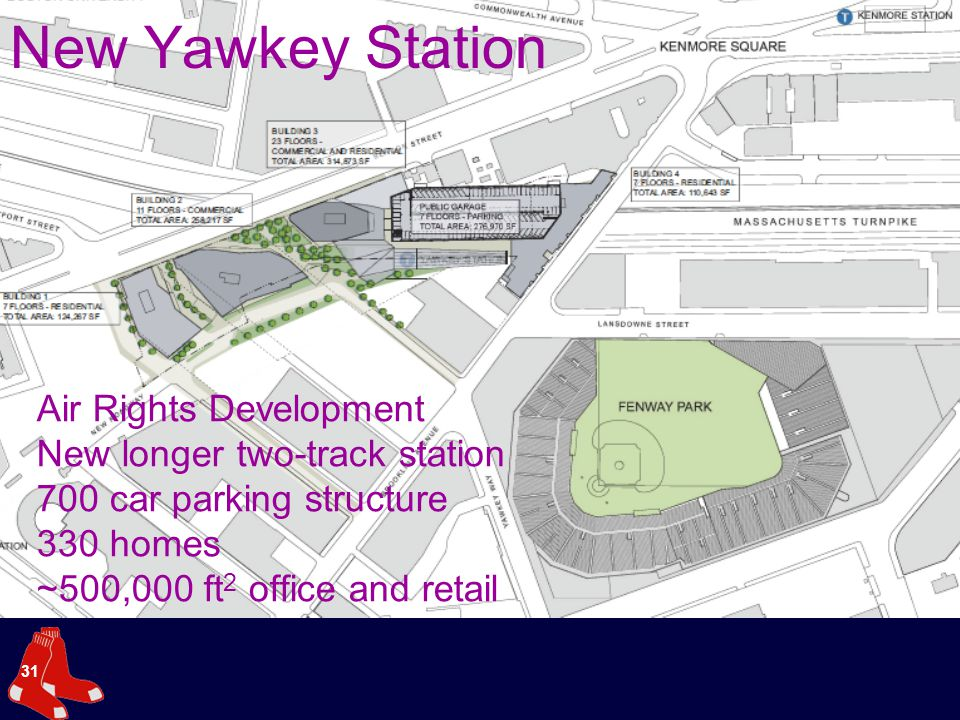 31 New Yawkey Station Air Rights Development New longer two-track station 700 car parking structure 330 homes ~500,000 ft 2 office and retail