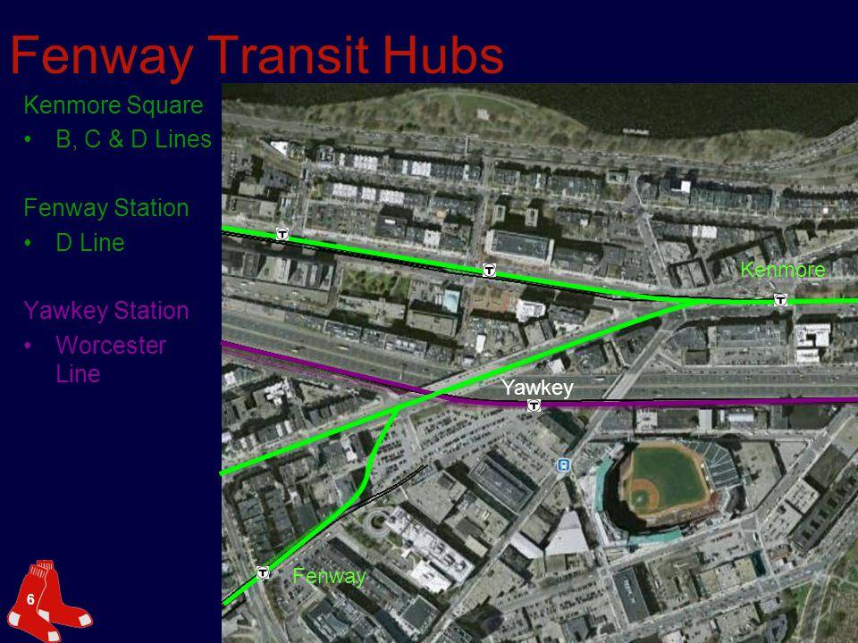 6 Fenway Transit Hubs Kenmore Square B, C & D Lines Fenway Station D Line Yawkey Station Worcester Line Kenmore Fenway Yawkey
