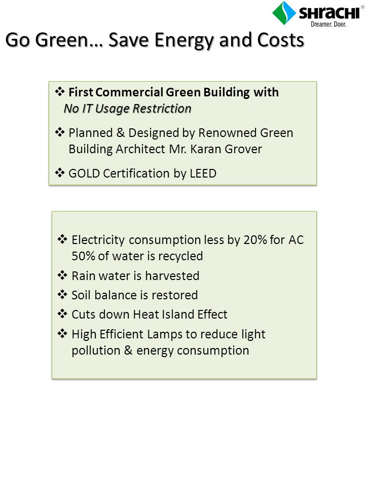 Electricity consumption less by 20% for AC 50% of water is recycled Rain water is harvested Soil balance is restored Cuts down Heat Island Effect High Efficient Lamps to reduce light pollution & energy consumption Electricity consumption less by 20% for AC 50% of water is recycled Rain water is harvested Soil balance is restored Cuts down Heat Island Effect High Efficient Lamps to reduce light pollution & energy consumption No IT Usage Restriction First Commercial Green Building with No IT Usage Restriction Planned & Designed by Renowned Green Building Architect Mr.