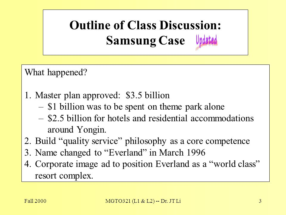 Fall 2000MGTO321 (L1 & L2) -- Dr. JT Li3 Outline of Class Discussion: Samsung Case What happened? 1.Master plan approved: $3.5 billion –$1 billion was