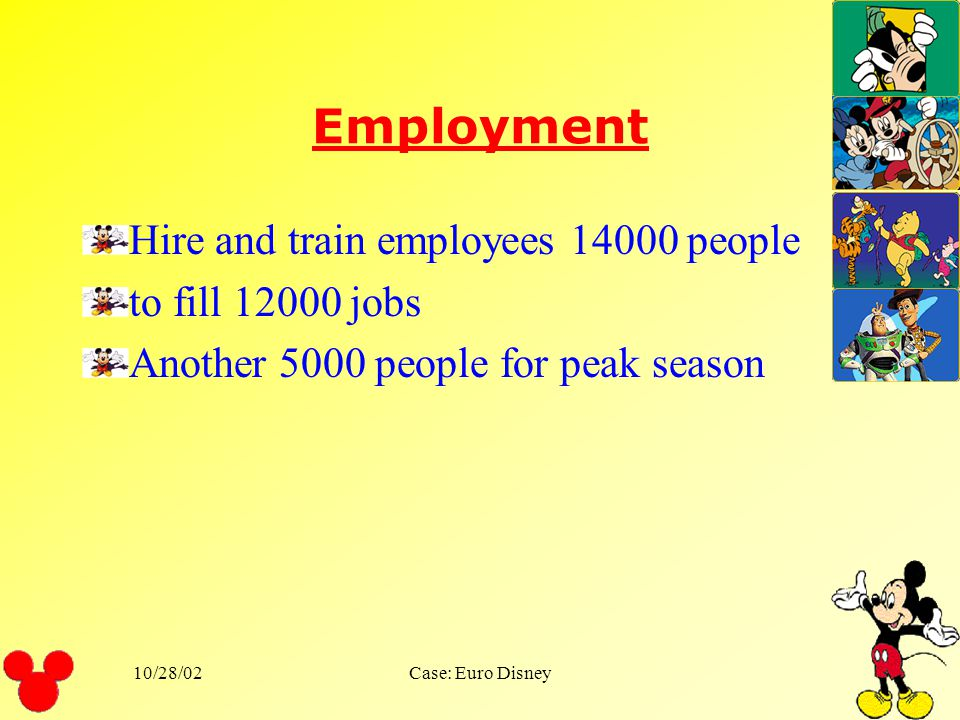 10/28/02Case: Euro Disney Start Up Process Employment Marketing Disney Service and operations Problems