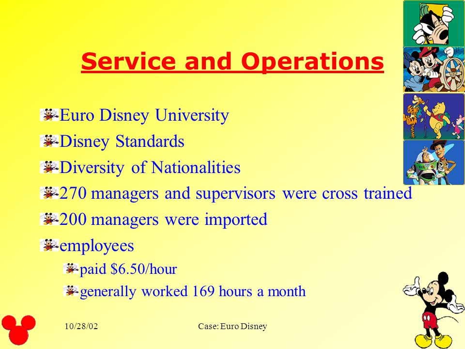 10/28/02Case: Euro Disney Marketing Give the park a European flavor Advertised in magazines throughout Europe Sleeping beauty Castle Nestle