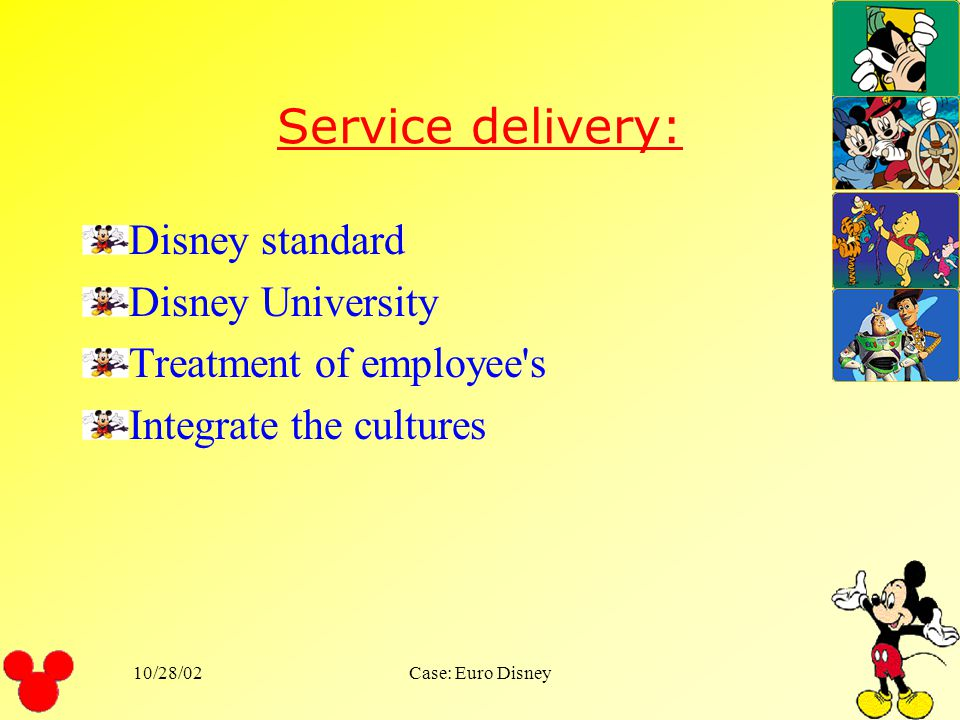 10/28/02Case: Euro Disney What issues must a company think through before extending a successful service overseas? What is the expected service for Eu