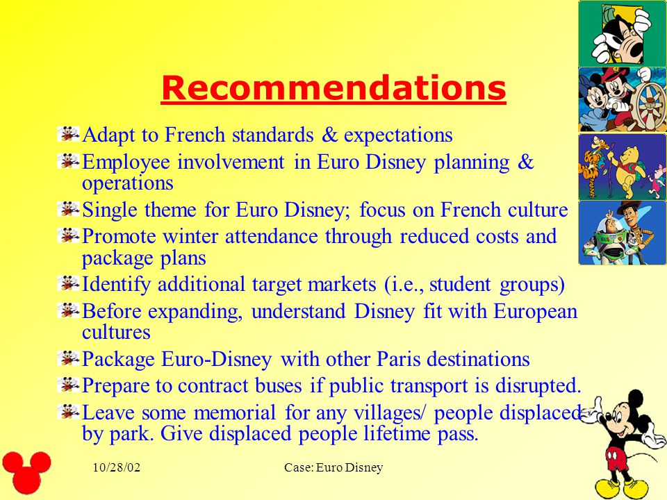 10/28/02Case: Euro Disney Adapt for the local market from the US model and if so, how?