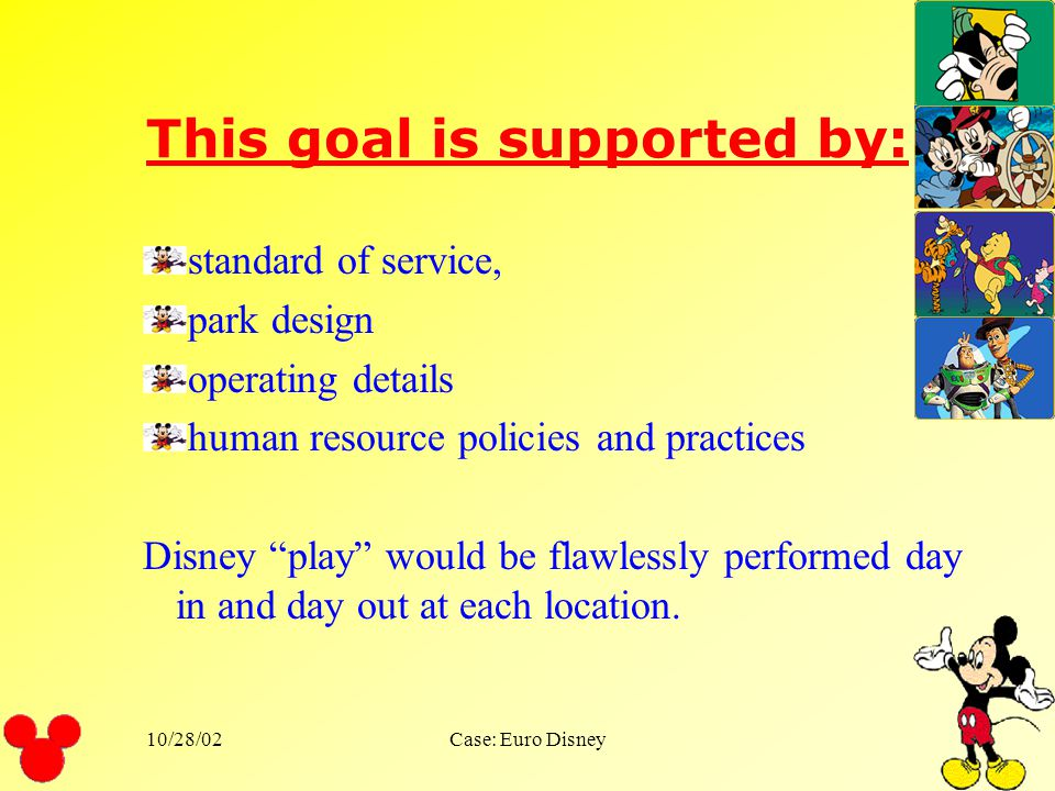 10/28/02Case: Euro Disney To exceed its customers expectation every day. Disneys stated goal is
