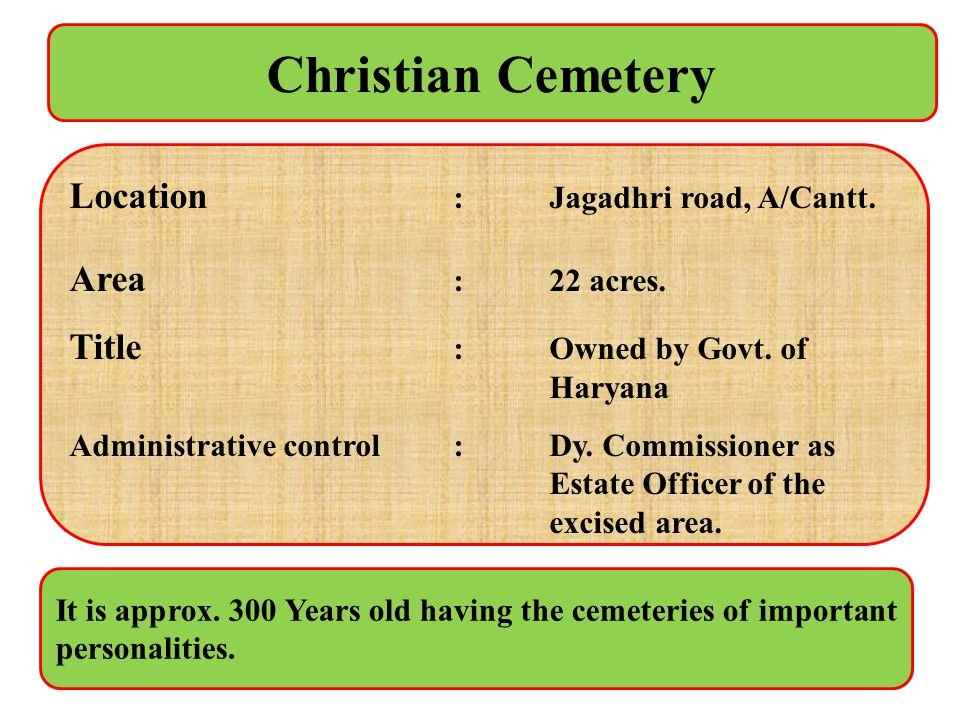 Christian Cemetery Location : Jagadhri road, A/Cantt. Area : 22 acres. Title :Owned by Govt. of Haryana Administrative control :Dy. Commissioner as Es