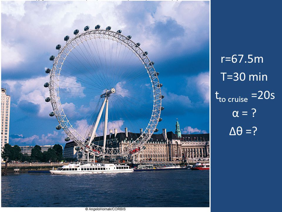 r=67.5m T=30 min t to cruise =20s α = ? Δθ =?