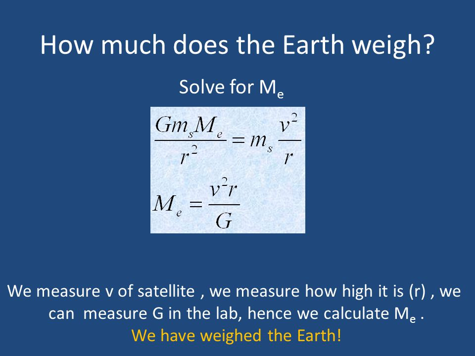How much does the Earth weigh? Solve for M e We measure v of satellite, we measure how high it is (r), we can measure G in the lab, hence we calculate