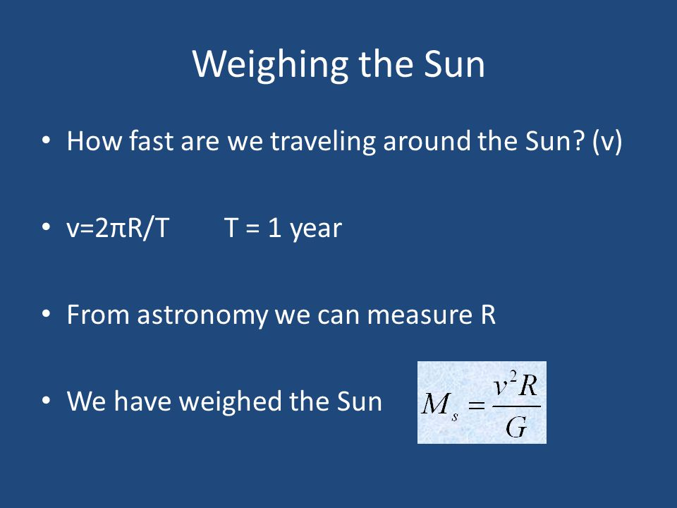 Weighing the Sun How fast are we traveling around the Sun? (v) v=2πR/T T = 1 year From astronomy we can measure R We have weighed the Sun