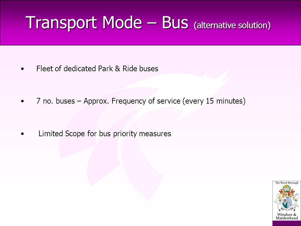 Transport Mode – Bus (alternative solution) Fleet of dedicated Park & Ride buses 7 no.