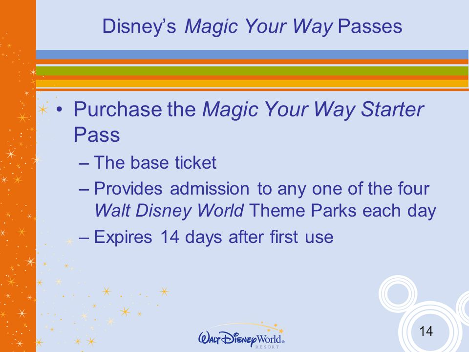 14 Disneys Magic Your Way Passes Purchase the Magic Your Way Starter Pass –The base ticket –Provides admission to any one of the four Walt Disney World Theme Parks each day –Expires 14 days after first use