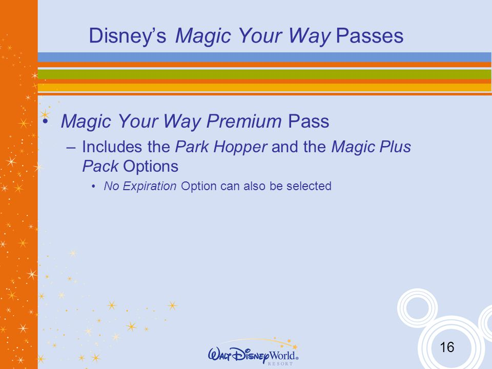 16 Disneys Magic Your Way Passes Magic Your Way Premium Pass –Includes the Park Hopper and the Magic Plus Pack Options No Expiration Option can also be selected