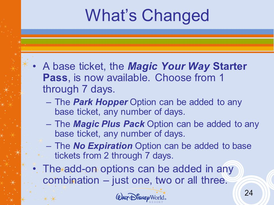 24 Whats Changed A base ticket, the Magic Your Way Starter Pass, is now available.