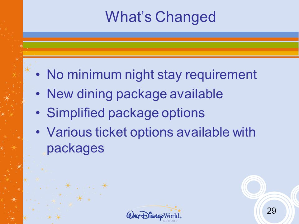 29 Whats Changed No minimum night stay requirement New dining package available Simplified package options Various ticket options available with packages