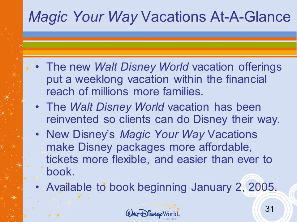31 Magic Your Way Vacations At-A-Glance The new Walt Disney World vacation offerings put a weeklong vacation within the financial reach of millions more families.
