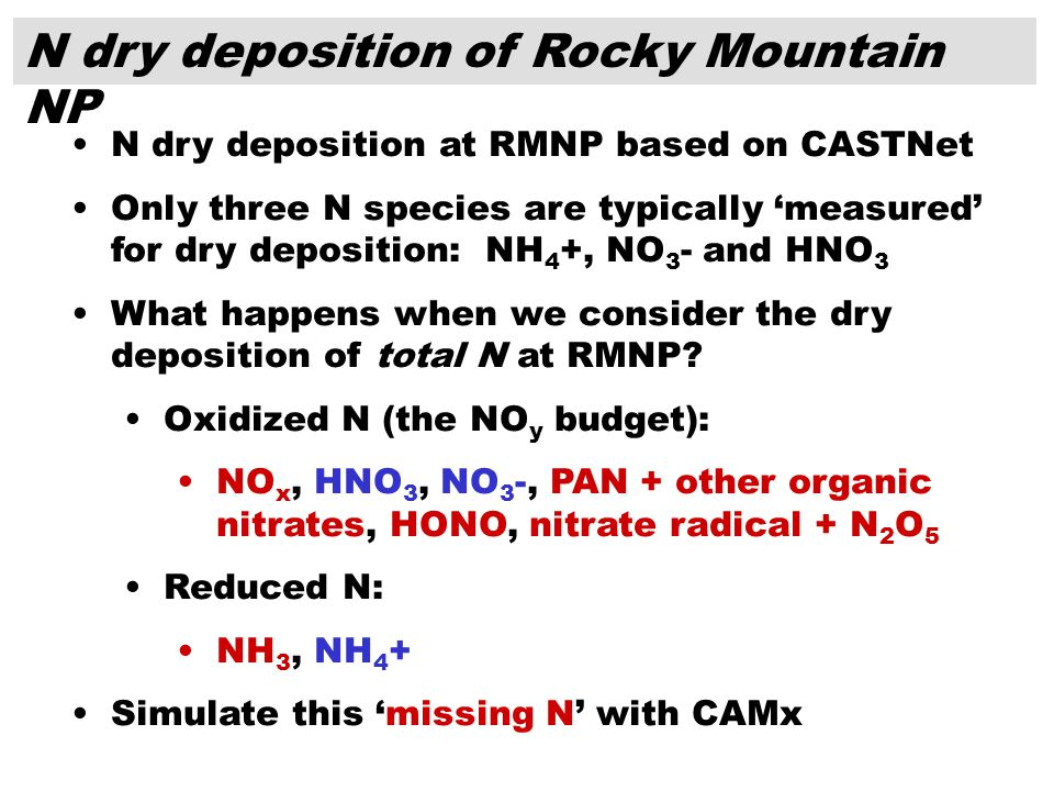 N dry deposition of Rocky Mountain NP N dry deposition at RMNP based on CASTNet Only three N species are typically measured for dry deposition: NH 4 +