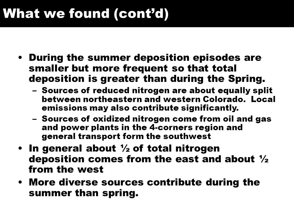 What we found (contd) During the summer deposition episodes are smaller but more frequent so that total deposition is greater than during the Spring.