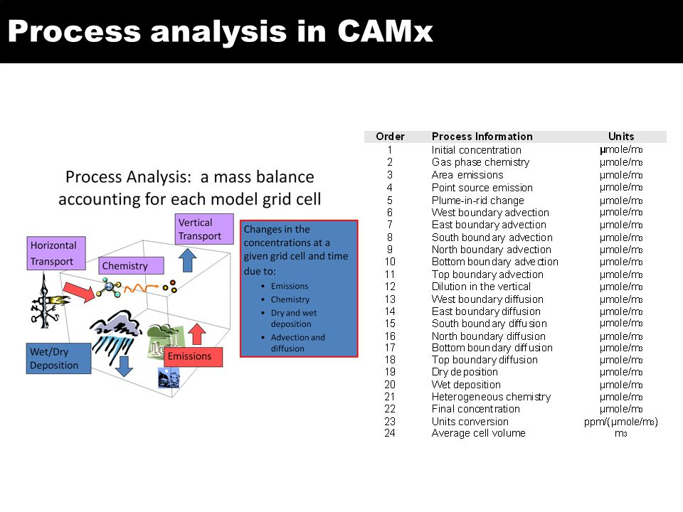 Process analysis in CAMx