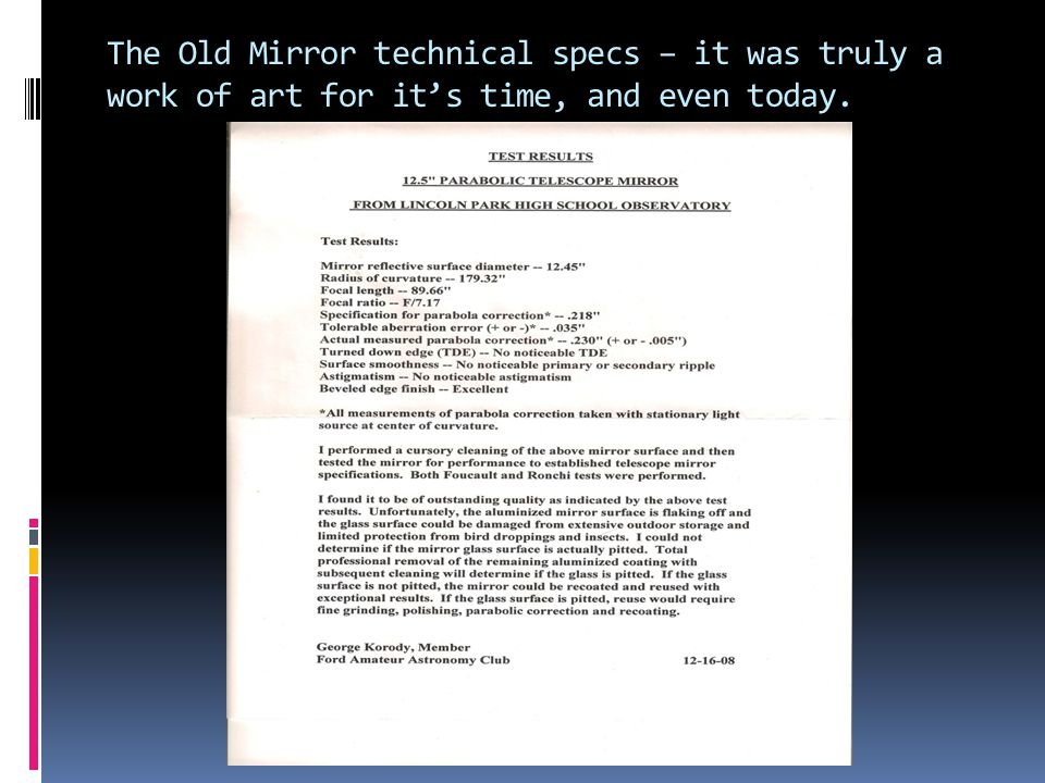The Old Mirror technical specs – it was truly a work of art for its time, and even today.