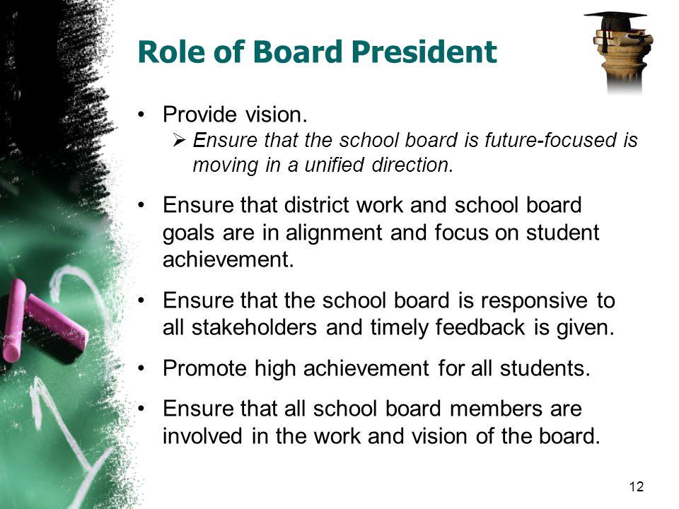 Role of Board President Provide vision.