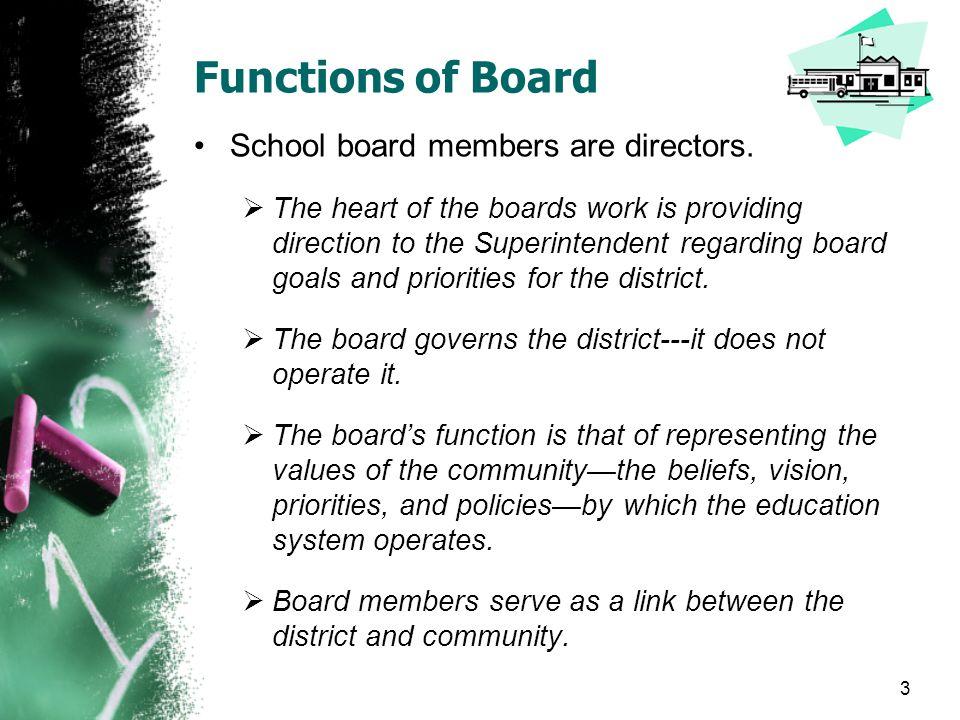 Functions of Board School board members are directors.