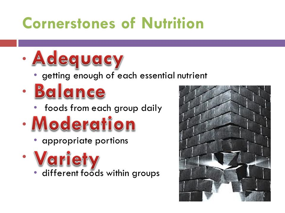 Cornerstones of Nutrition getting enough of each essential nutrient foods from each group daily appropriate portions different foods within groups