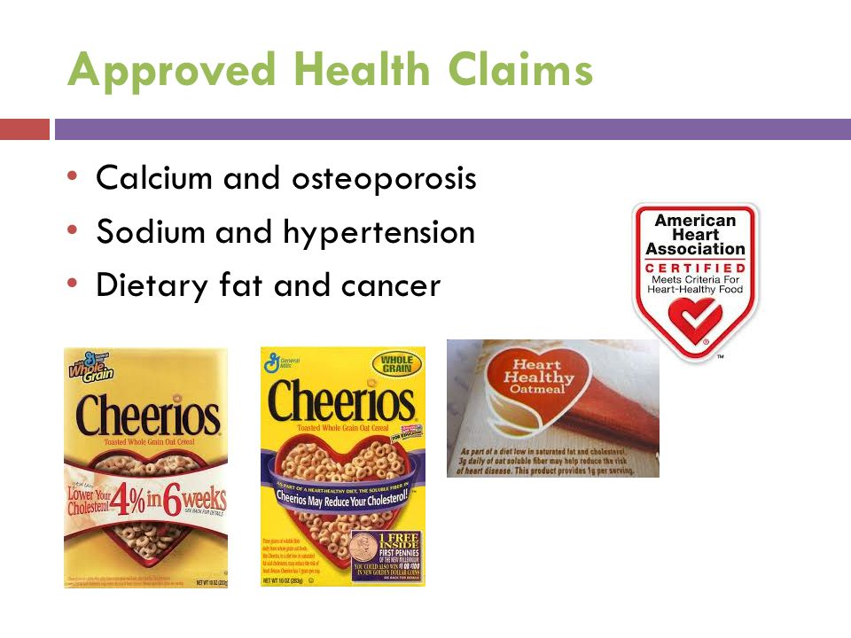 Approved Health Claims Calcium and osteoporosis Sodium and hypertension Dietary fat and cancer