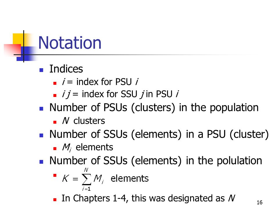 16 Notation Indices i = index for PSU i i j = index for SSU j in PSU i Number of PSUs (clusters) in the population N clusters Number of SSUs (elements