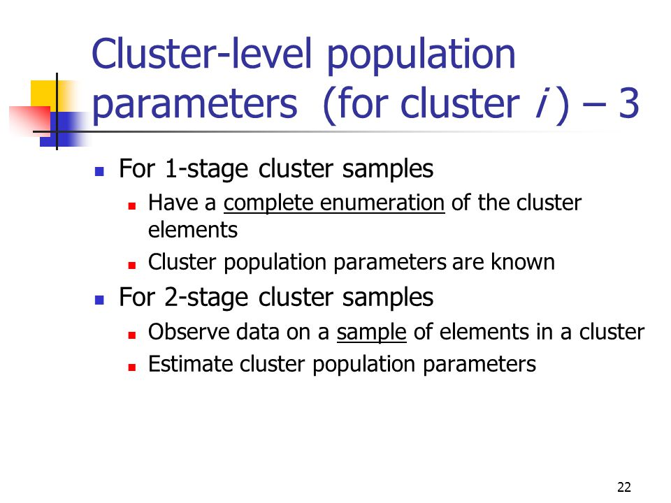 22 Cluster-level population parameters (for cluster i ) – 3 For 1-stage cluster samples Have a complete enumeration of the cluster elements Cluster po