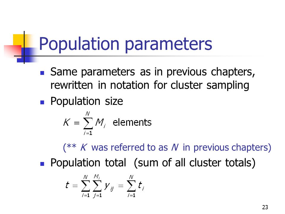 23 Population parameters Same parameters as in previous chapters, rewritten in notation for cluster sampling Population size (** K was referred to as