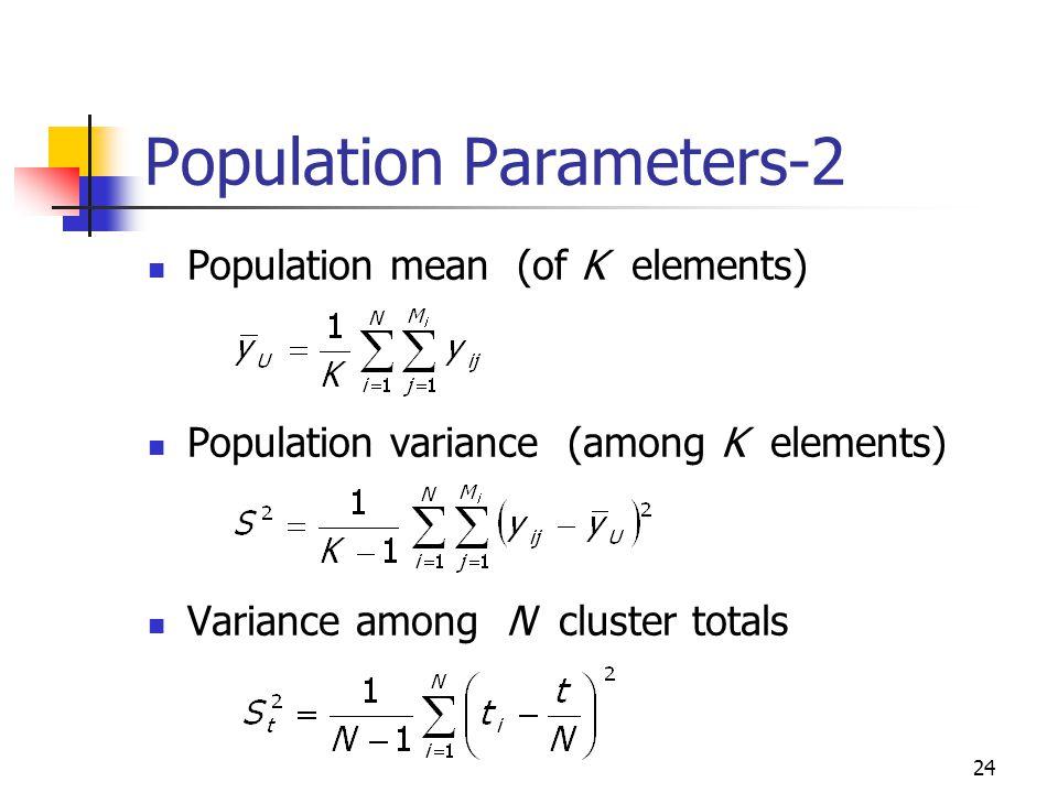 24 Population Parameters-2 Population mean (of K elements) Population variance (among K elements) Variance among N cluster totals