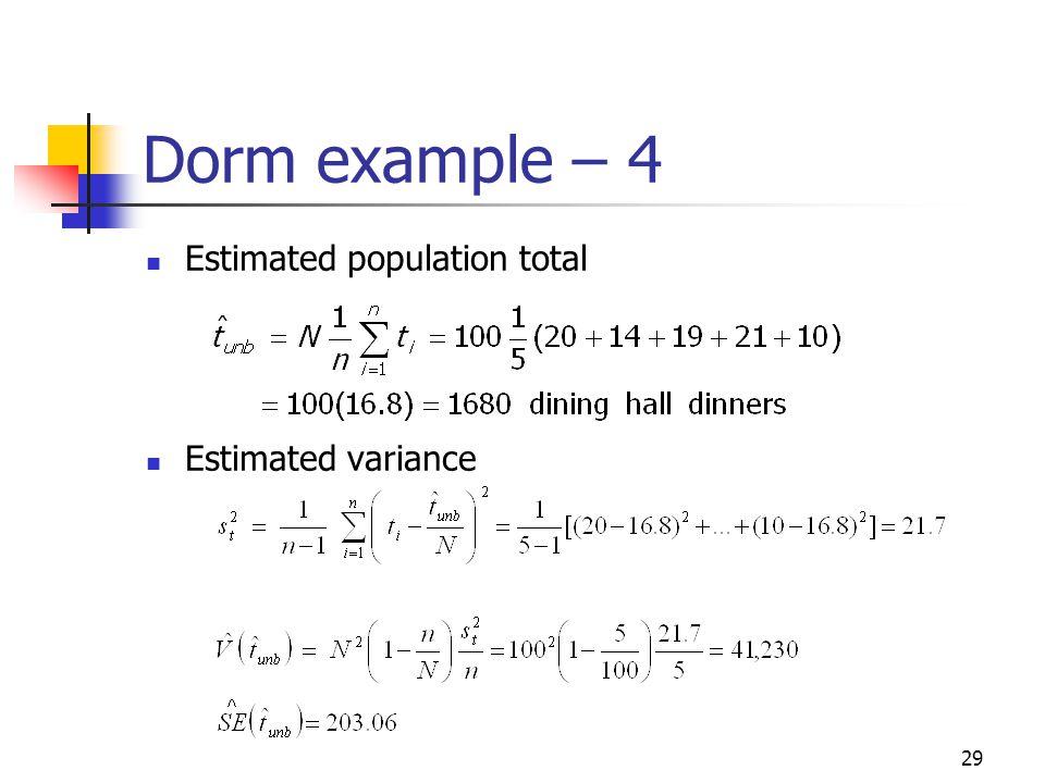 29 Dorm example – 4 Estimated population total Estimated variance