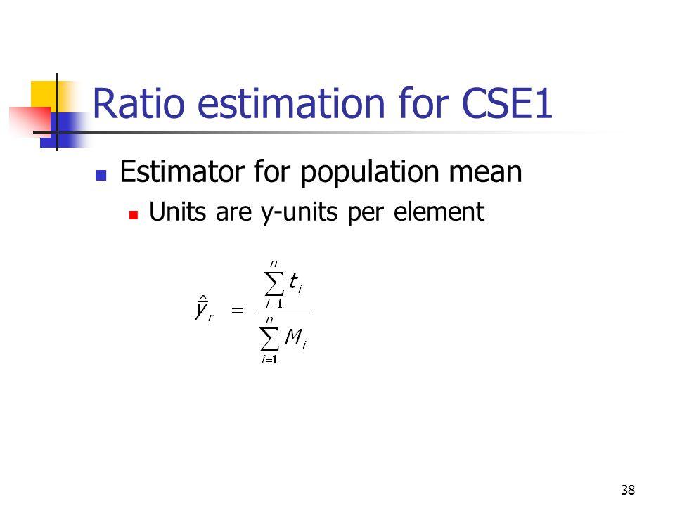 38 Ratio estimation for CSE1 Estimator for population mean Units are y-units per element