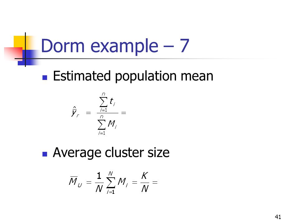 41 Dorm example – 7 Estimated population mean Average cluster size