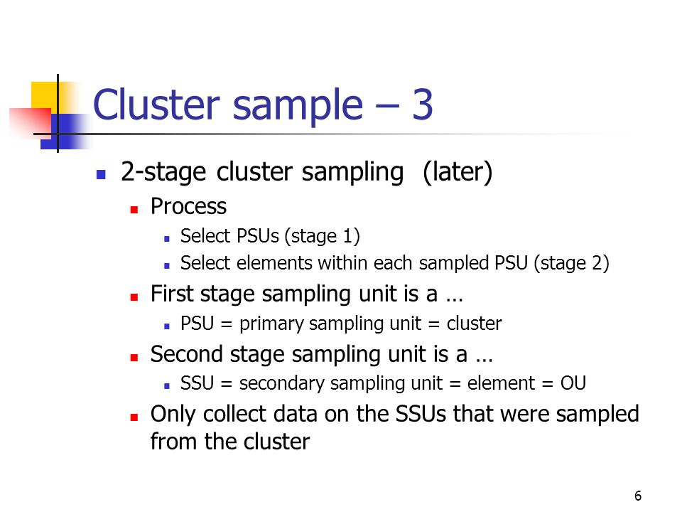 47 2-stage cluster sampling Stage 1 of 2-stage cluster sample (select PSUs) Stage 2 of 2-stage cluster sample (select SSUs w/in PSUs)