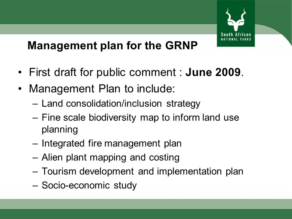 Management plan for the GRNP First draft for public comment : June 2009.