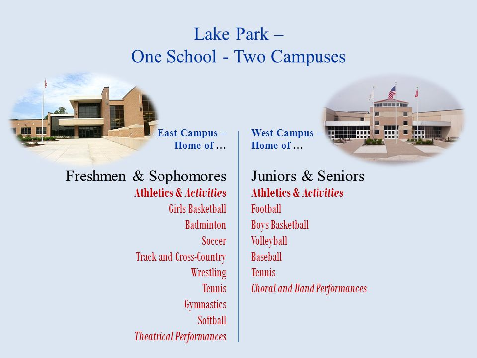 Lake Park – One School - Two Campuses East Campus – Home of … Freshmen & Sophomores Athletics & Activities Girls Basketball Badminton Soccer Track and