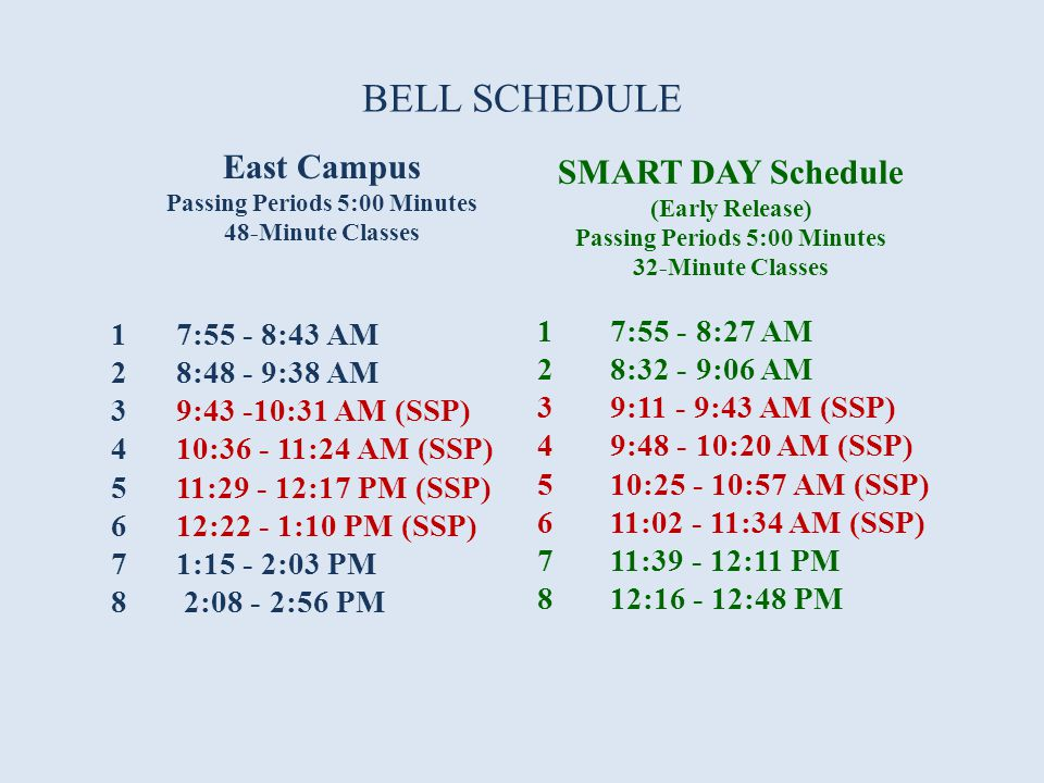 BELL SCHEDULE East Campus Passing Periods 5:00 Minutes 48-Minute Classes 1 7:55 - 8:43 AM 2 8:48 - 9:38 AM 3 9:43 -10:31 AM (SSP) 4 10:36 - 11:24 AM (