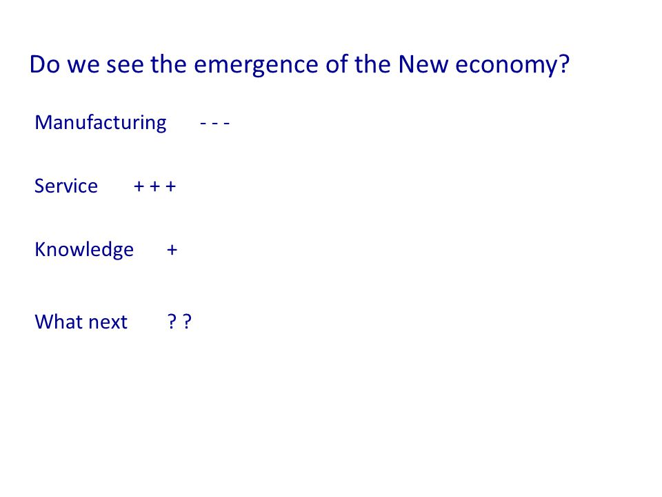 Do we see the emergence of the New economy. Manufacturing - - - Service+ + + Knowledge+ What next.