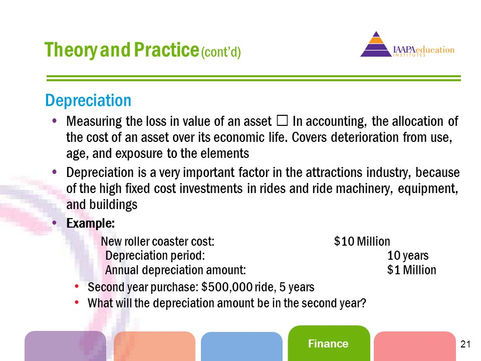 Finance 21 Depreciation Measuring the loss in value of an asset In accounting, the allocation of the cost of an asset over its economic life.