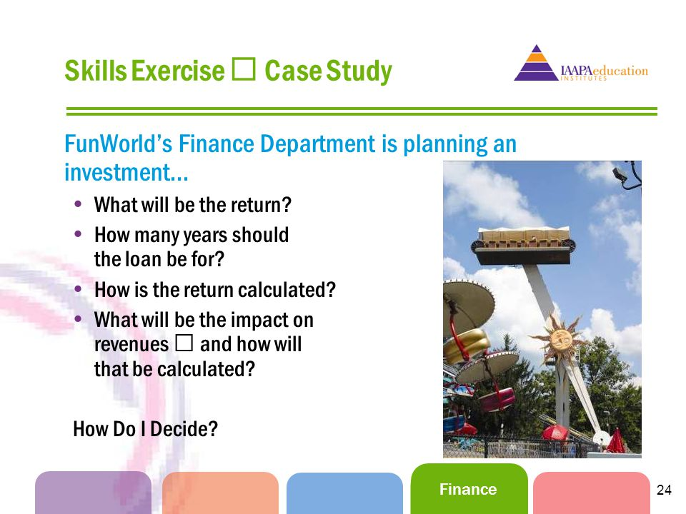 Finance 24 Skills Exercise Case Study FunWorlds Finance Department is planning an investment...