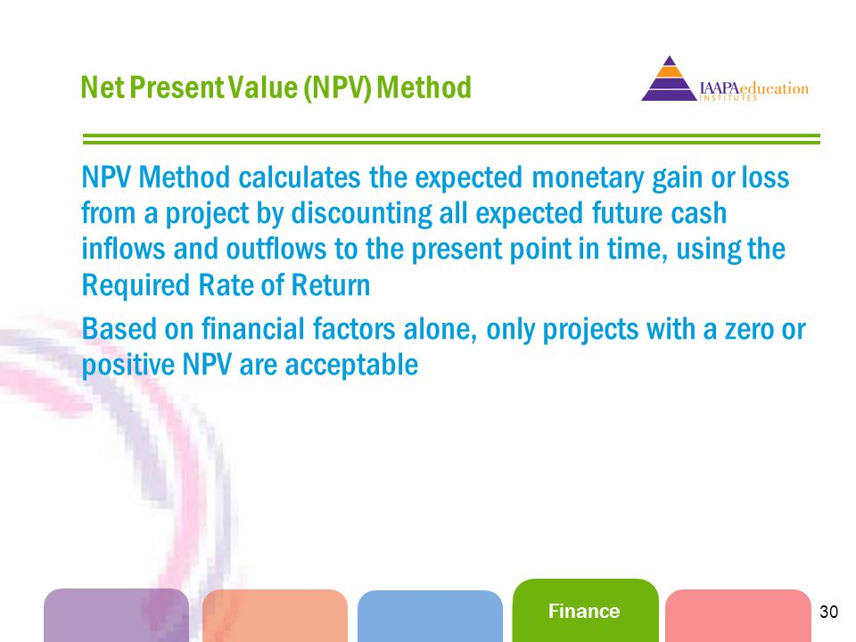 Finance 30 Net Present Value (NPV) Method NPV Method calculates the expected monetary gain or loss from a project by discounting all expected future cash inflows and outflows to the present point in time, using the Required Rate of Return Based on financial factors alone, only projects with a zero or positive NPV are acceptable