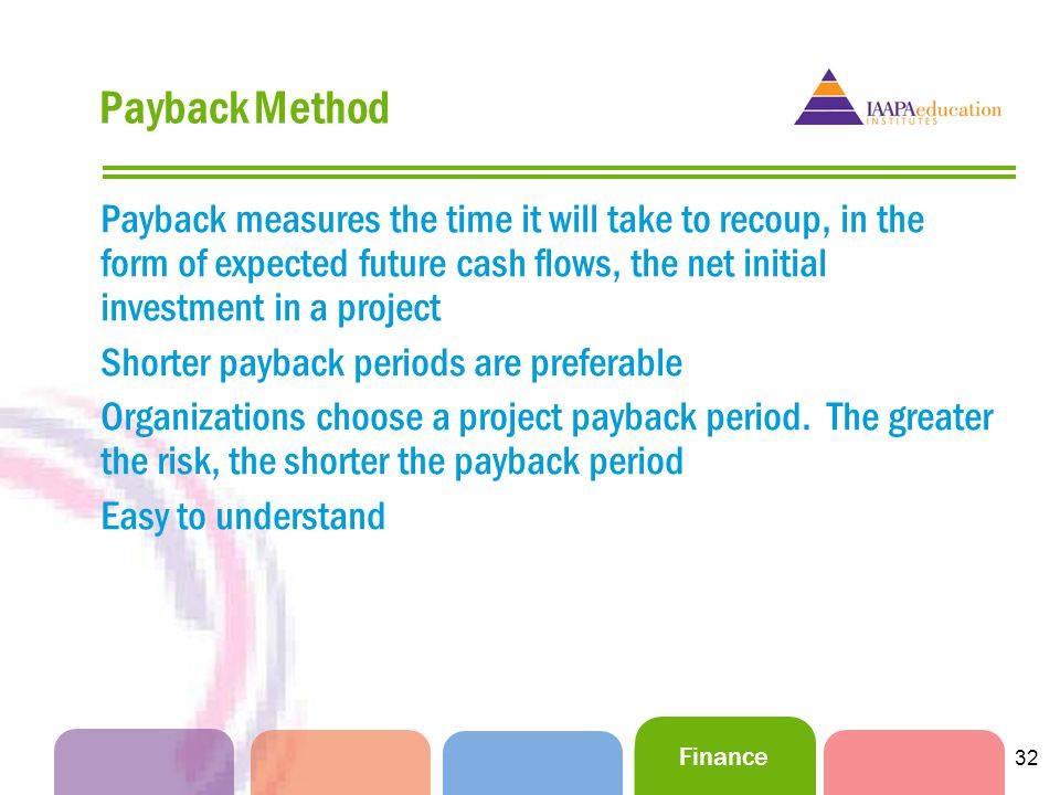 Finance 32 Payback Method Payback measures the time it will take to recoup, in the form of expected future cash flows, the net initial investment in a project Shorter payback periods are preferable Organizations choose a project payback period.