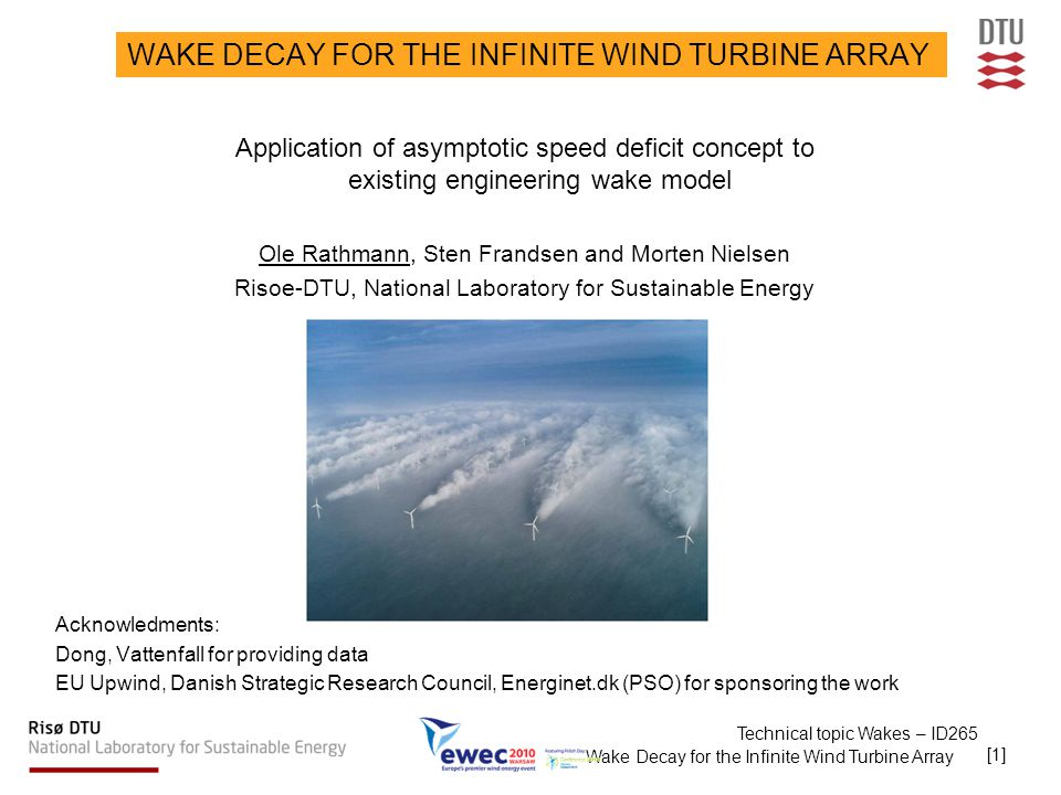 Wake Decay for the Infinite Wind Turbine Array [12] Comparative wind farm predictions: Horns Rev (2) Wind direction: 270 o +/- 3 o Wind speed: 8.5 m/s +/- 0.5 m/s Wind direction: 270 o +/- 3 o Wind speed: 12.0 m/s +/- 0.5 m/s