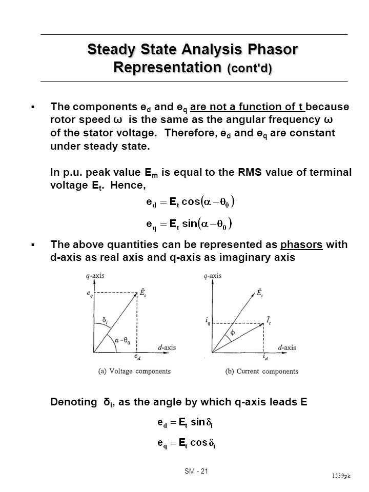 1539pk SM - 21 Steady State Analysis Phasor Representation (cont'd) The components e d and e q are not a function of t because rotor speed ω is the sa