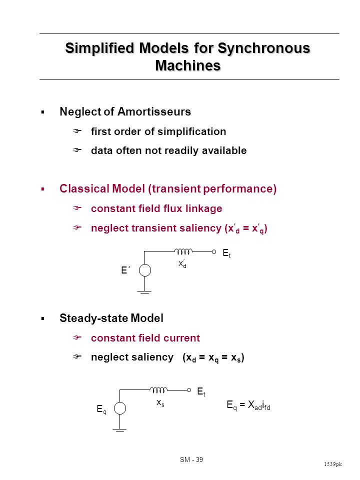 1539pk SM - 39 Simplified Models for Synchronous Machines Neglect of Amortisseurs first order of simplification data often not readily available Classical Model (transient performance) constant field flux linkage neglect transient saliency (x d = x q ) Steady-state Model constant field current neglect saliency (x d = x q = x s ) E´E´ EtEt EqEq EtEt xsxs E q = X ad i fd