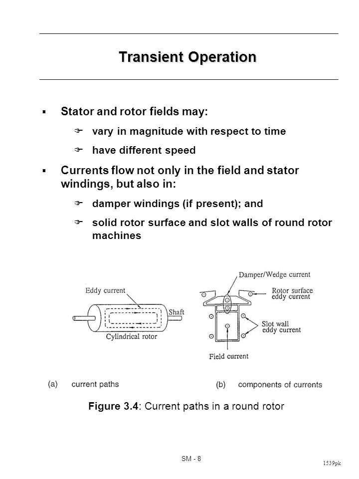 1539pk SM - 8 Transient Operation Stator and rotor fields may: vary in magnitude with respect to time have different speed Currents flow not only in the field and stator windings, but also in: damper windings (if present); and solid rotor surface and slot walls of round rotor machines Figure 3.4: Current paths in a round rotor